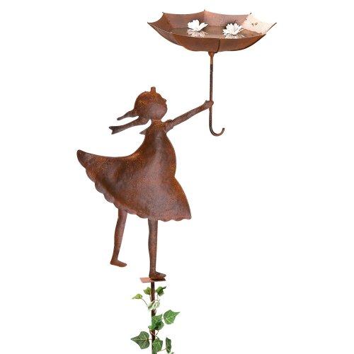 Gartenstecker Vogeltränke Mädchen mit Schirm Metall Rost braun ca. 150 cm hoch