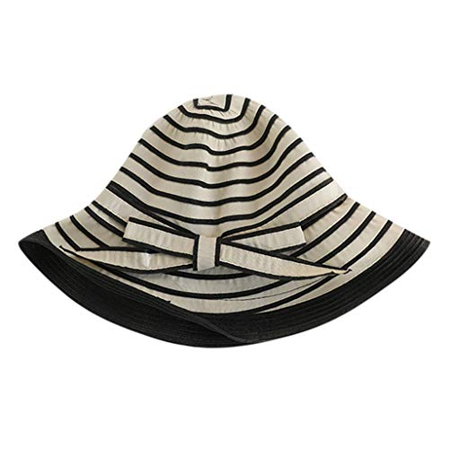 hositor Fascinator Hats for Women, Ladies Women Casual Wide Brimmed Floppy Foldable Striped Summer Sun Beach Hat ()