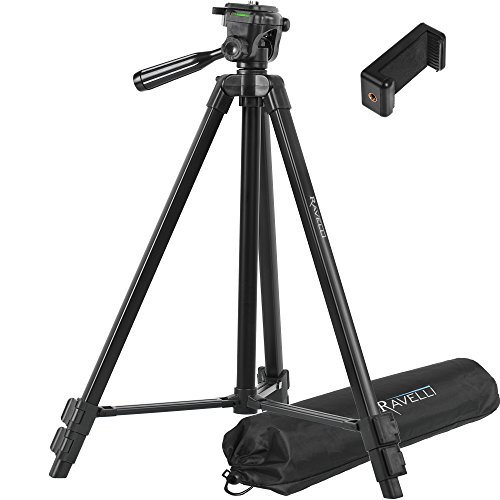 Ravelli APLT4 61' Light Weight Aluminum Tripod With Bag Includes Universal Smartphone Mount