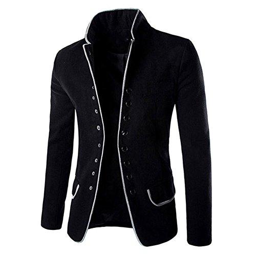 Fit Mélange Manteau Élégant Hommes Trench Hauts Pardessus Veste Blazers Outwear noir Noir Tunique Laine Slim Bouton Kaki Col Montant Costume wqEvpI