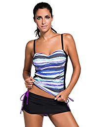 Bsubseach Women's Two Piece Swimsuit Colorblock Bandeau Tankini Top And Skort Set