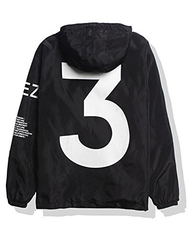 Adult Waterproof Letter Print Jacket Hip-Pop Long Sleeve Anti-Sun Hoodie (Mens Letter)