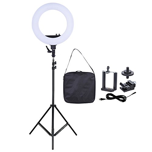 Andoer 18 Inch LED Video Ring Light Fill-in Lamp Studio Photography Lighting 50W 3200-5500K with Smartphone Holder Cold Shoe Base Carrying Bag + 2m/6.6ft Light Stand
