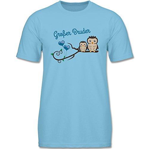 Geschwisterliebe Kind - Großer Bruder süße Eulen - 116 (5-6 Jahre) - Hellblau - F140K - Kinder T-Shirt für Mädchen und Jungen