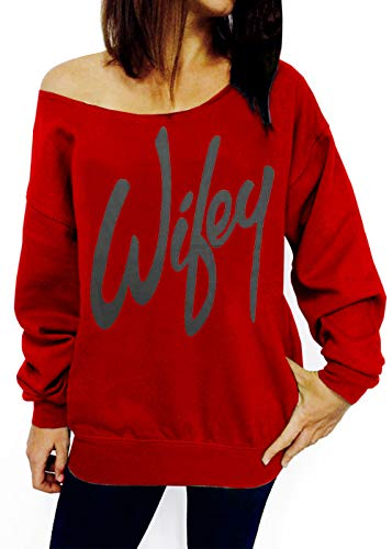 TWKIOUE Sexy Shirt Women, Women's Off Shoulder Pullover Shirt Slouchy Sweatshirt Red L - Reference Letter Office