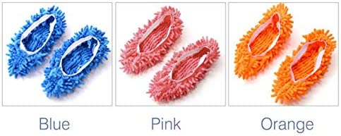 多機能明るい色弾性シェニールマイクロファイバースリッパ靴カバースリッパモップ家庭用床ほこりクリーニングツール-ピンク