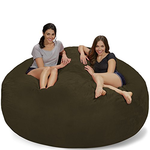 Chill Sack Bean Bag Chair: Giant 7' Memory Foam Furniture Bean Bag - Big Sofa with Soft Micro Fiber Cover - Olive Micro Suede