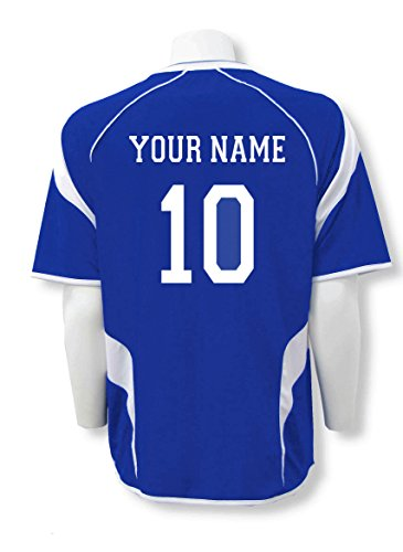USA Soccer Jersey - customized with name, number - color royal/white - size Adult XXL