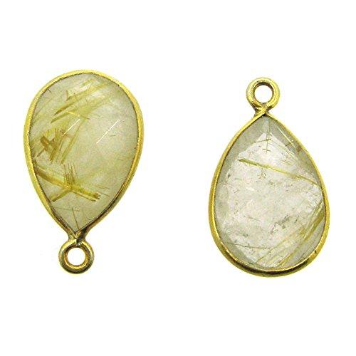 Bezel Gemstone Pendant-Small Teardrop Charm-Gold Plated Bezel Frame- Gold Rutilated Quartz-14mm (sold per 2 pieces) - Teardrop Frame