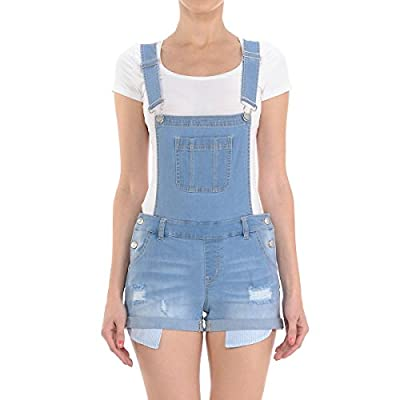 Wax Women's Juniors Cute Denim Overall Shorts: Clothing