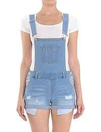 Women's Juniors Cute Denim Overall Shorts