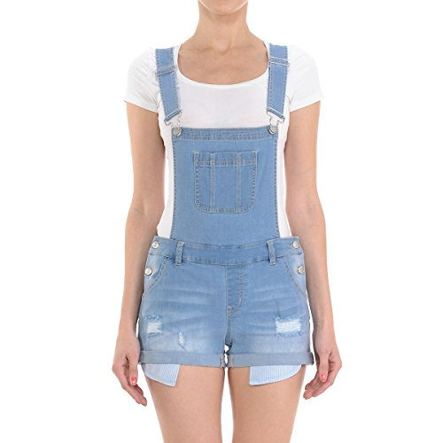 Dokotoo Womens Fashion Bib Denim Adjustable Strap Turn Up Cuffs Short Jeans Overalls