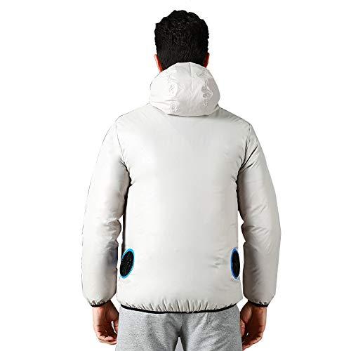 冷却ファンジャケット/空調服、作業服 - 高温屋外作業用夏の釣り旅行キャンプ、バイク,LightGrey-L  B07PXYL8PV
