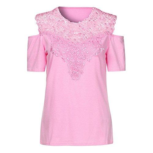 Tshirt Tee Pizzo Sciolto Casual maglietta Weant Rosa Donna Camicie Estate Top Forti Girocollo Manica Nuda Spalla Blusa Abbigliamento Girl Taglie Camicetta Cime Elegante Tops qYwBwE
