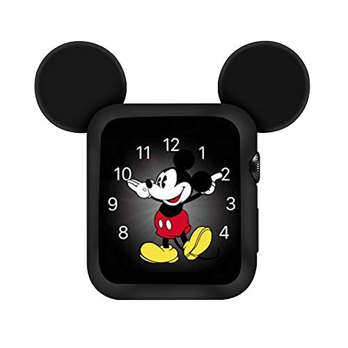 (Lovely Cartoon Mickey Ears TPU Protective Cover for Apple Watch 40mm and 44mm, Anti-Scratch Soft Silicone Protector Bumper Frame Protective Case for iWatch Series 4 Girls Boys (Black, 44MM))