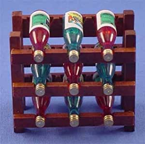 Dollhouse Wood Wine Rack with bottles