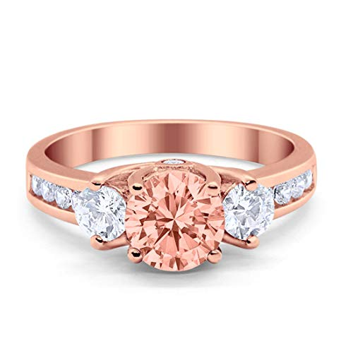 - Blue Apple Co. Three Stone 3-Stone Wedding Engagement Ring Simulated Morganite Round Cubic Zirconia Solid Rose Tone 925 Sterling Silver, Size-6