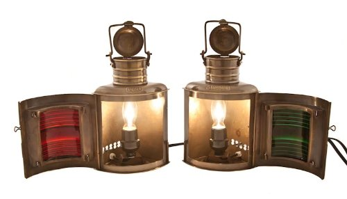 Vermont Lanterns Brass Port & Starboard Electric Lamps - Nautical Decor (9'', Antique Brass)