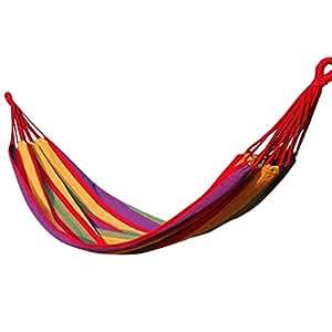 La vogue Hamaca Para Casa/Jardín/Aire Libre/Campo-Single Outdoor-200*80cm/resistencia: 140 kg-Rojo