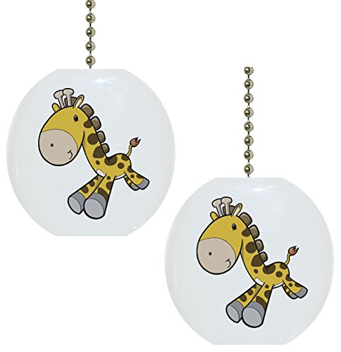 Set of 2 Baby Giraffe Running Solid Ceramic Fan Pulls by Carolina Hardware and Decor