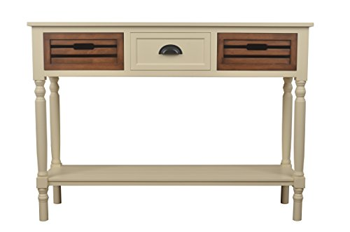 Décor Therapy FR6334 Melody Three Drawer Wood Console Table, White (Honey Oak Buffet)