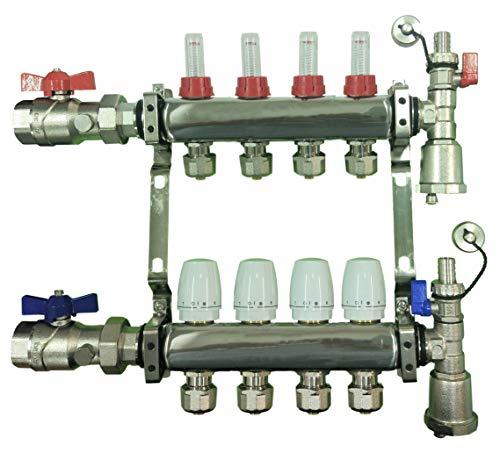 4 Loop Stainless Steel Manifold for Radiant Floor Heating with Brackets, Flow Meters and Temp Gauge