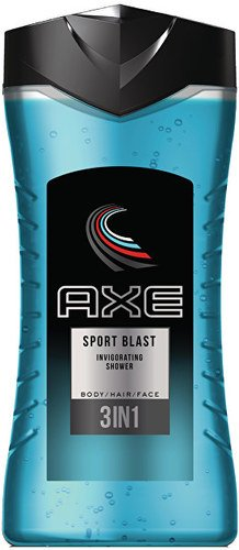 Axe 3 IN 1 Shampoo Body Wash and Face 250 ml Shower Gel (8.45 fl oz) Each Pack of 6 (Sport Blast) by AXE