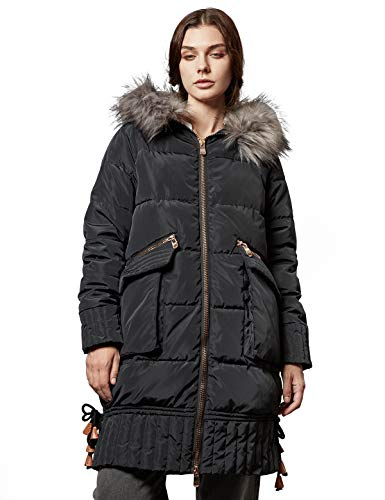 ANNA&CHRIS Escalier Women's Warm Long Puffer Coat Winter Thickened Parka Hooded Jackets with Faux Fur Collar Black