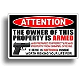 Gadsen Flags in USA Owner is Armed ! 2nd Amendment Stickers - America's Original Homeland Security Sticker Decal 4 inch- Warn Off Would Be Burglars