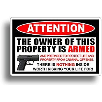 - Gadsen Flags in USA (2 PAK) Owner is Armed ! 2nd Amendment Stickers - America's Original Homeland Security Sticker Decal 4 inch- Warn Off Would Be Burglars (2 Pack)