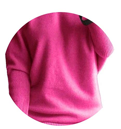 2018 Spring Autumn Cashmere Sweaters Women Fashion Sexy v-Neck Loose 100% Wool Sweater,Rose,M