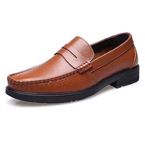 pelle foderata pelle da Scarpe suola 2018 Hongjun uomo on uomo Slip morbida shoes Marrone Mocassini Classico Vera foderata in 6qEwYx7