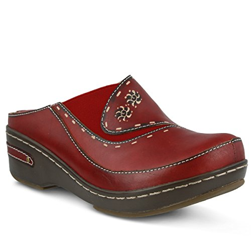 Hand Clog Women's Red Leather Painted Chino L'ARTISTE wPTZtqpSn