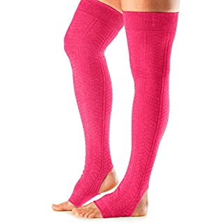 ToeSox Women's Wool Thigh High Ribbed Knit Leg Warmers (Lagoon) One Size