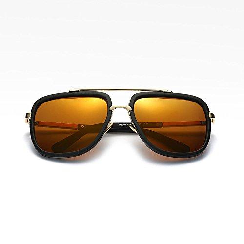 Hombres Metal plata Plaza La de Marrón Piloto Polarizados sol Gafas Gran de Retro de Naranja negro 4zPaxRwPq