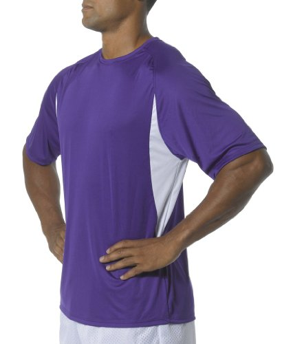A4 Men's Short Sleeve Cooling Performance Color Block Tee, Purple/White, 4X-Large