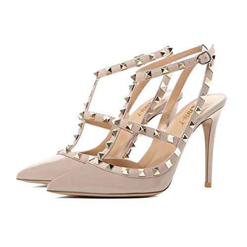 Chris-T Women Pointed Toe Stilettos Sandals Studded Strappy Slingback High Heel Leather Pumps Nude Patent Size 6 -