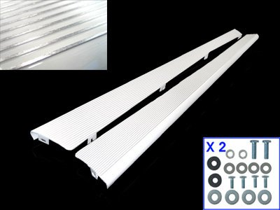 BILLET ALUMINUM RUNNING BOARDS, GLOSS WHITE WITH POLISHED RIBS, - Boards Running Gloss