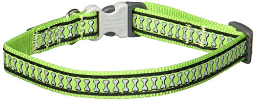 Red Dingo Reflective Lime Green Dog Collar, Small/12mm