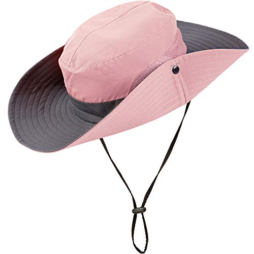 Geyoga 2 Pack Sun UV Protection Hat Mesh Wide Brim Women Sun Hat Outdoor Foldable Beach Hiking Fishing Summer Hat Pink, Orange