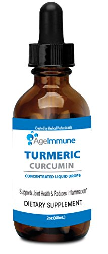Organic Turmeric Curcumin Anti-Inflammatory Premium Herbal Supplement Extract with Black Pepper as Bioperine Liquid Drops for Pain Relief by Age Immune