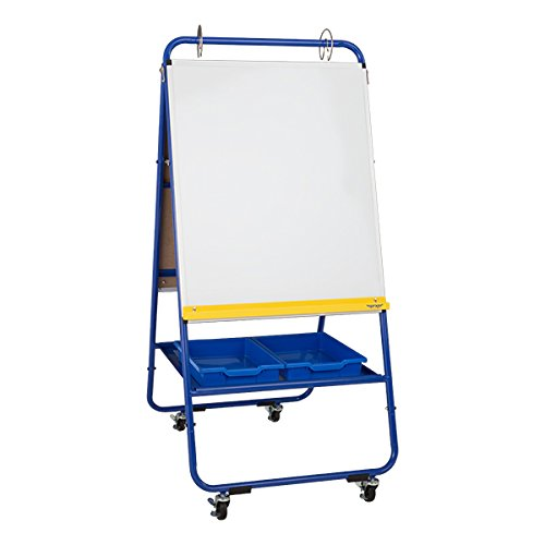 Sprogs SPG-051E-SO Mobile Preschool Dry Erase Flannel Easel with Bins, 4 Locking Casters, Blue