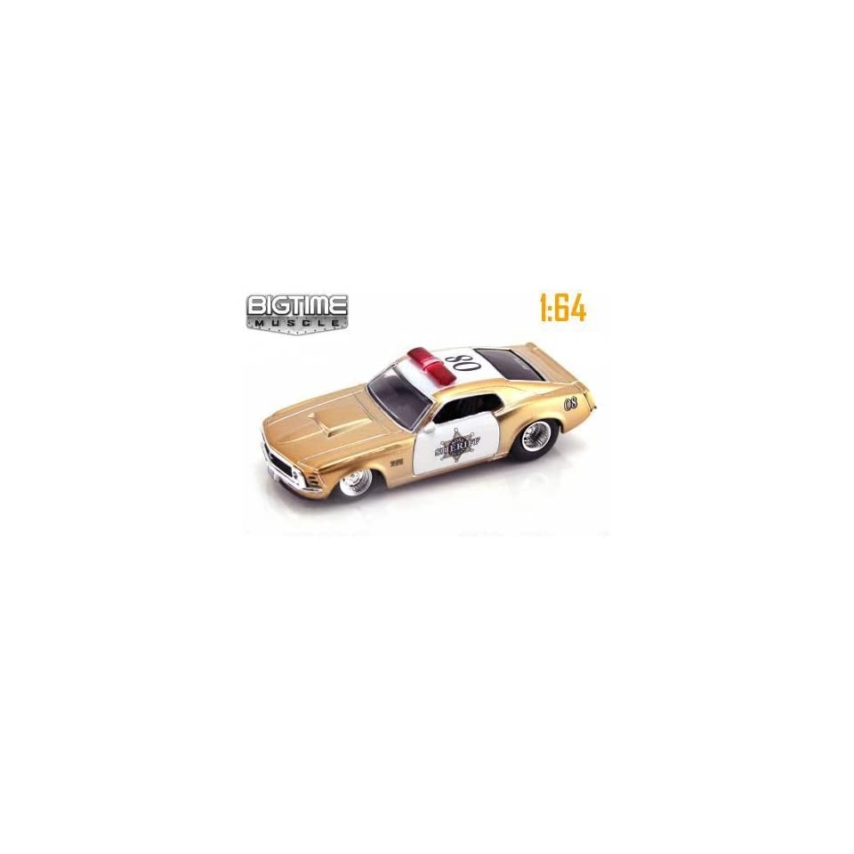 Jada Dub City Big Time Muscle Boss County Sheriff Gold & White 1970 Ford Mustang Boss 429 164 Scale Die Cast Police Car