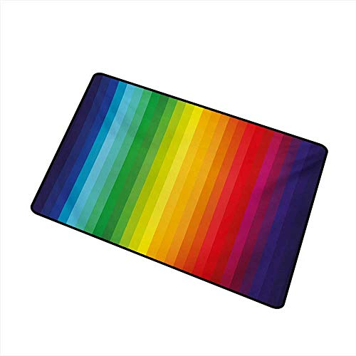 Palette Tuscan - Door mat Rainbow Rainbow Inspired Vertical Lines Pattern Spectrum of Colors Abstract Art Palette W30 xL39 Country Home Decor