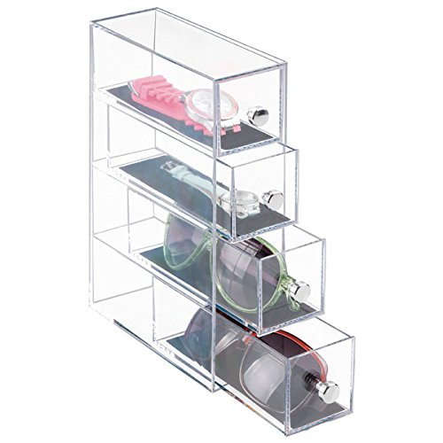 mDesign Stackable Organizer Holder for Eyeglasses, Sunglasses, Reading Glasses, Watches - 4 Drawers, - Solution Storage Sunglass