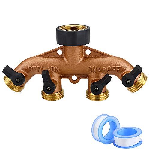 - Jansamn 4 Way Brass Garden Hose Splitter Heavy Duty Garden Tap Hose Adapter Nozzle Switcher Connector with 4 Shut-Off Valves for Garden Irrigation Watering (American Thread 3/4)