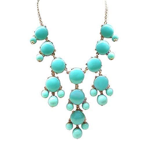 ShinyJewelry Bib Bubble Chunky Collar Choker Statement Necklace Pendant (Blue) -