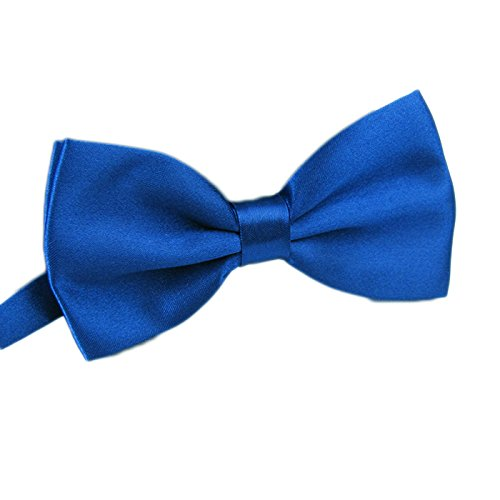 Men's Pre Tied Bow Ties for Wedding Party Fancy Plain Adjustable Bowties Necktie (Royal blue) -