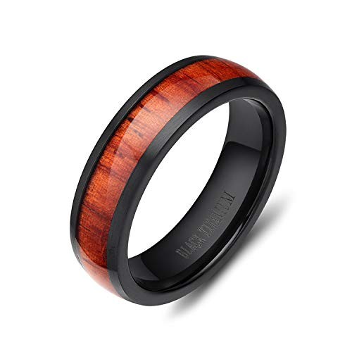 (SOMEN TUNGSTEN 6mm Men's Women Black Titanium Ring with Real Wood Inlay Comfort Fit Wedding Band Size 5-14 (7))
