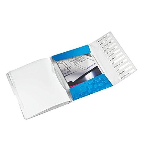 Formato A4 Capacit/à 200 fogli A4 Acquamarina Polipropilene 12 scomparti indicizzati WOW Chiusura a elastico Leitz 46340051 Libro monitore
